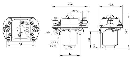 Габаритные и установочные размеры контакторов КМ-100 В, КМ-100 ДВ: