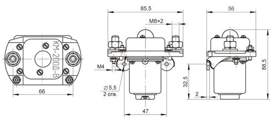 Габаритные и установочные размеры контакторов КМ-200 В, КМ-200 ДВ